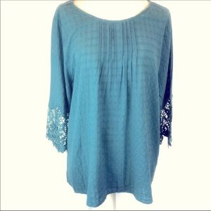 2for$30 KORI Pin Tuck Floral Crochet Lace Tunic